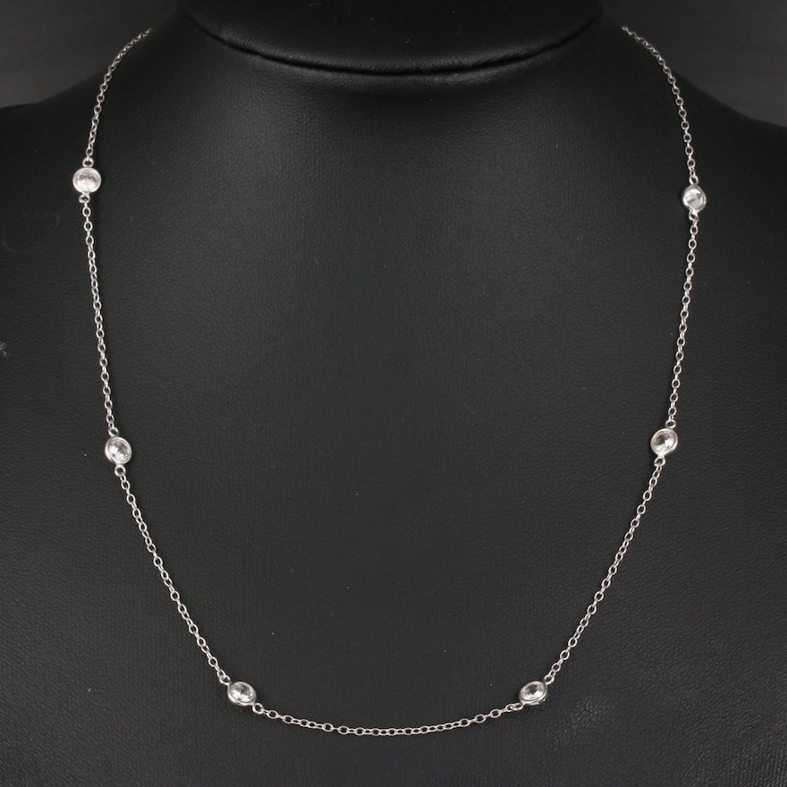 14K Cubic Zirconia Station Necklace