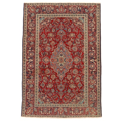 4'6 x 6'5 Hand-Knotted Persian Kashan Wool Area Rug