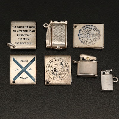 Vintage Sterling Lighter and Matchbook Charms Including Purdue and Michigan