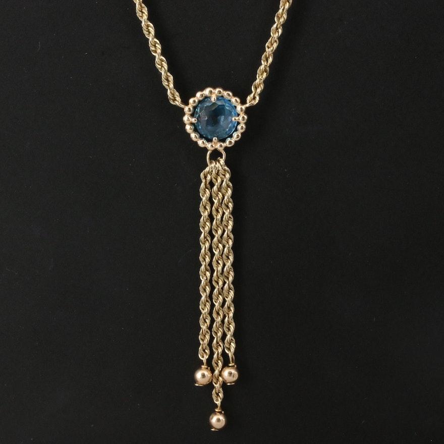10K Topaz Fringe Drop Necklace