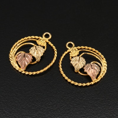 10K Foliate Earring Enhancers with Rose Gold Accents