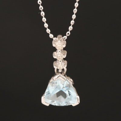 14K Aquamarine and Diamond Pendant Necklace