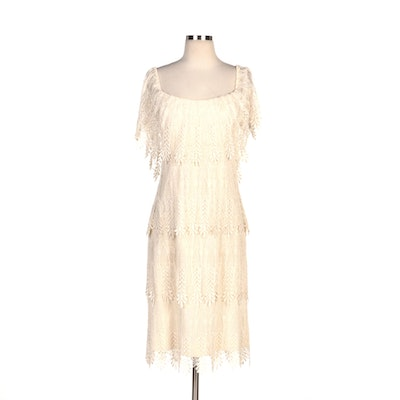 Union-Made Tiered Vandyke Ivory Lace Dress with Open Back