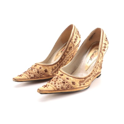 Wild Rose Embellished Satin Khussa Inspired Pointed Toe Wedges with Box
