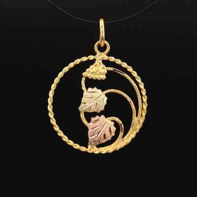 10K Foliate Pendant with Rose Gold Accent