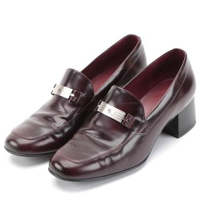 Lauren Ralph Lauren Bordeaux Leather Sibyl Low-Heeled Loafers with Box