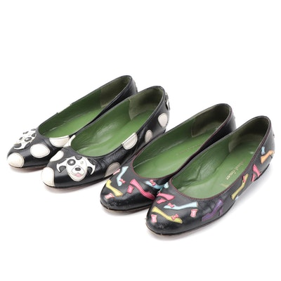 Michael Simon Black Flats with Dalmatian and Shoe Themed Appliqué