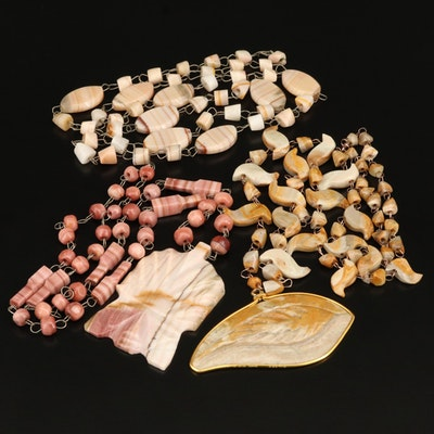 Calcite Necklaces Including Carved Pendants