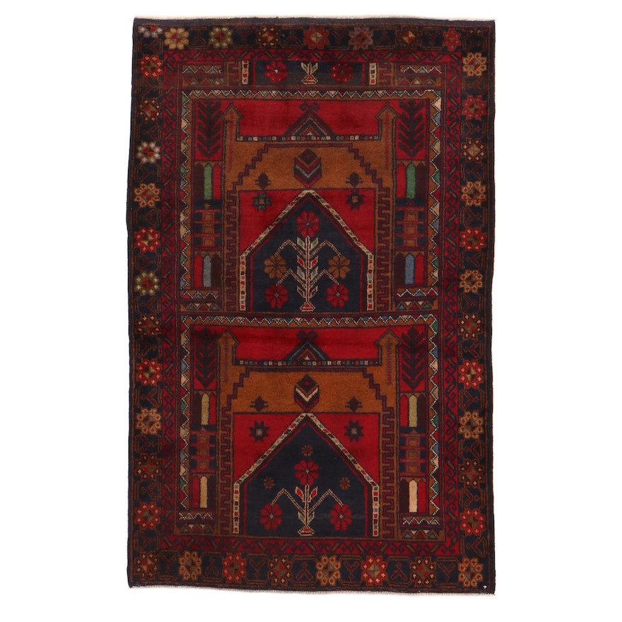 3'0 x 4'9 Hand-Knotted Persian Baluch Prayer Rug, 2000s