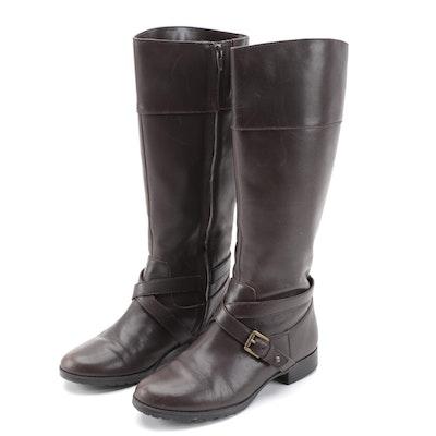 Lauren Ralph Lauren Sahara Brown Leather Tall Boots