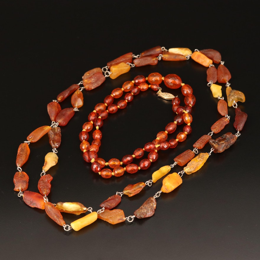 Freeform Amber and Graduated Copal Bead Necklaces with 14K Clasp