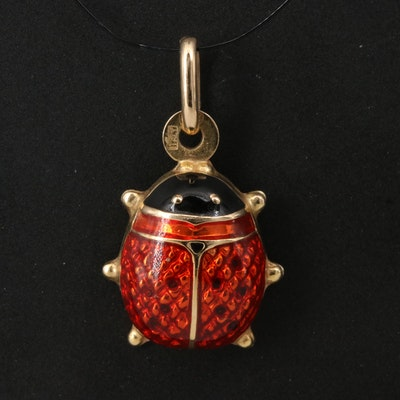 Italian 14K Enamel Ladybug Pendant
