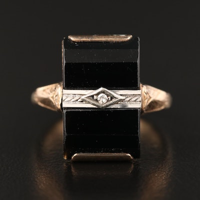 Art Deco 10K Diamond and Black Onyx Ring