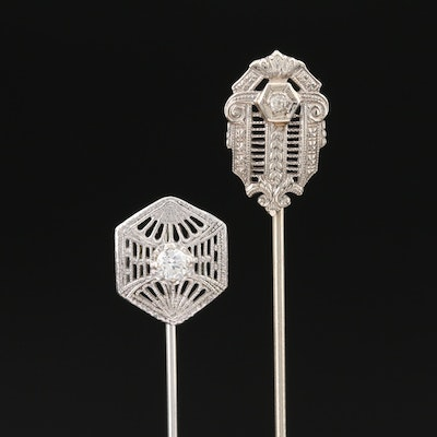 Art Deco 14K Diamond Stick Pins