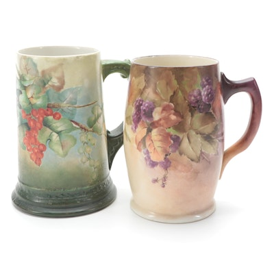 Willets Belleek and Limoges Hand-Painted Tankards, Late 19th/ Early 20th Century
