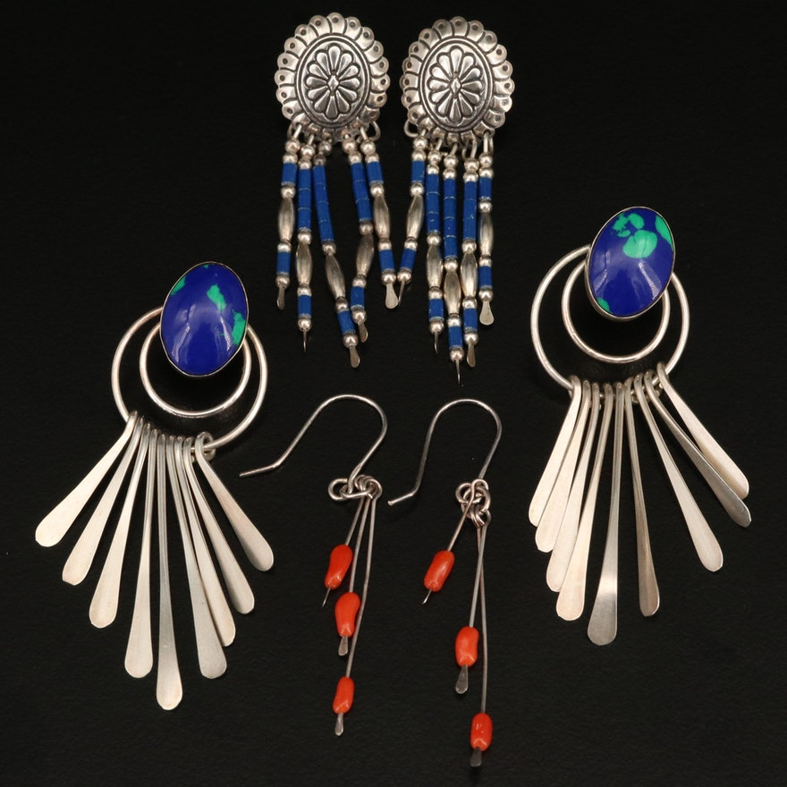 Sterling Earrings Including Coral and Faux Gemstones