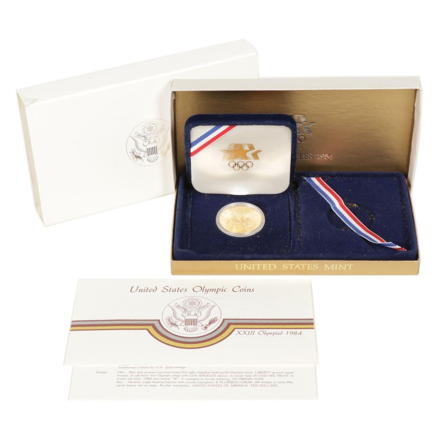 United States 1984-W Proof Olympic Gold Ten Dollar Coin