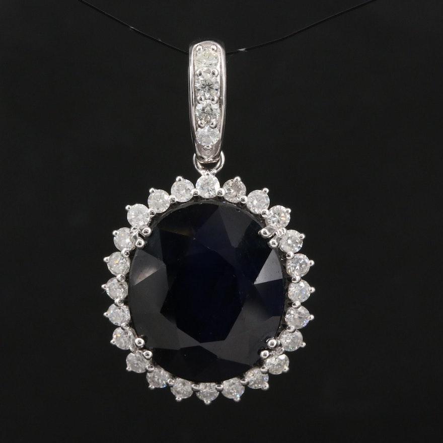 14K Sapphire and 1.04 CTW Diamond Pendant