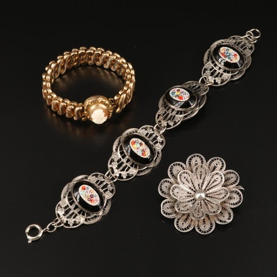 "Vintage Jewelry Featuring D.F. Briggs Co. ""Carmen"" Expandable Cameo Bracelet"