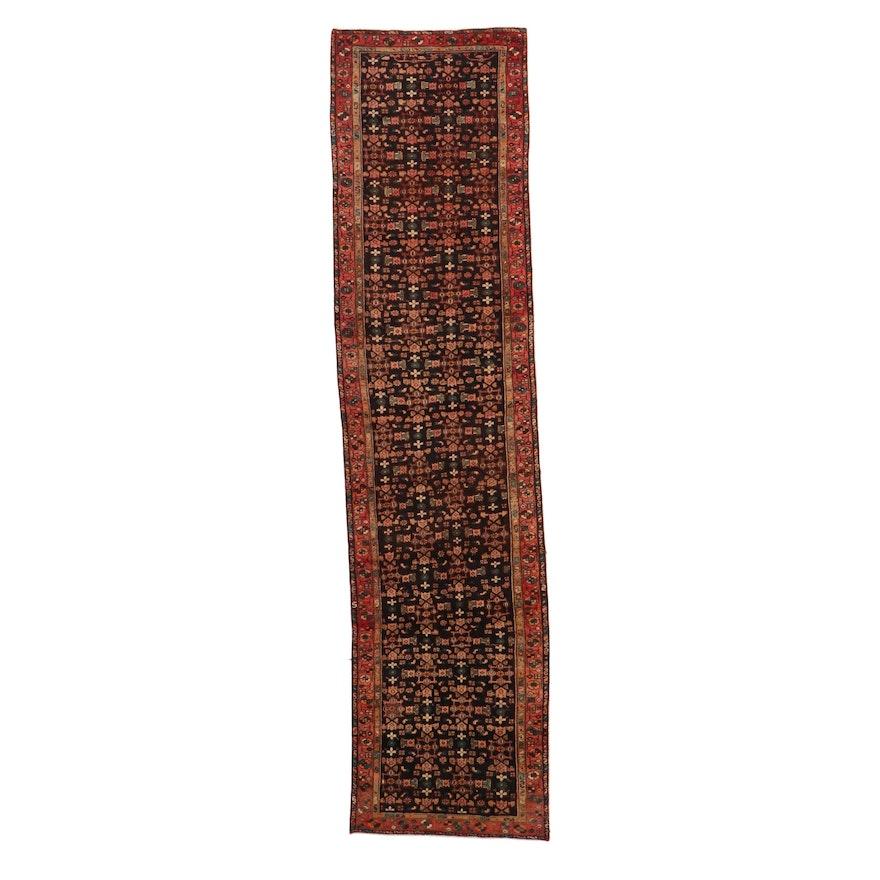 3'6 x 14'5 Hand-Knotted Persian Zanjan Long Rug, 1960s