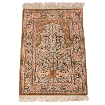 "3'0 x 4'10 Hand-Knotted Turkish Hereke ""Tree of Life"" Wool Prayer Rug"