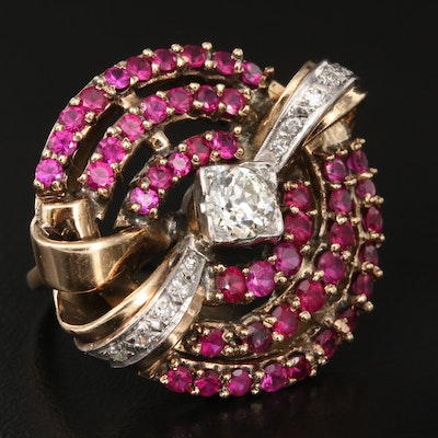 Retro 14K Diamond and Ruby Concentric Ring with Palladium Accents