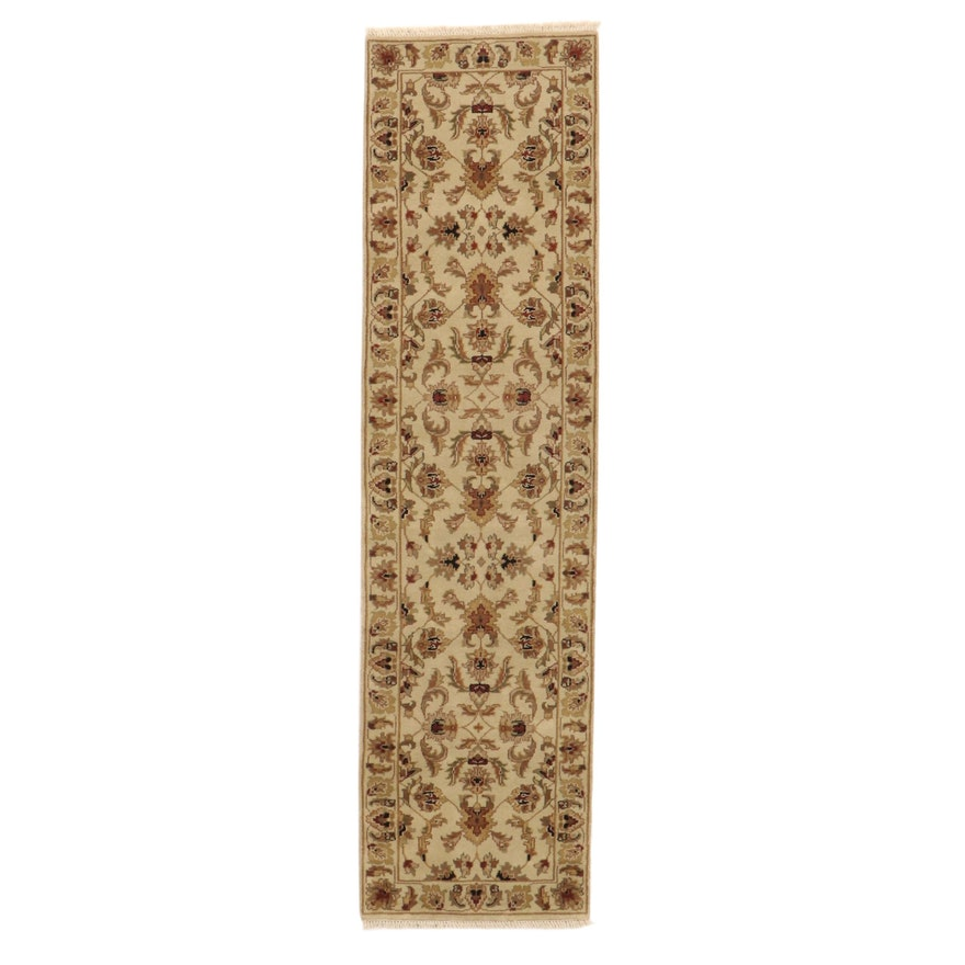 2'8 x 10'2 Hand-Knotted Indo-Turkish Oushak Carpet Runner, 2010s