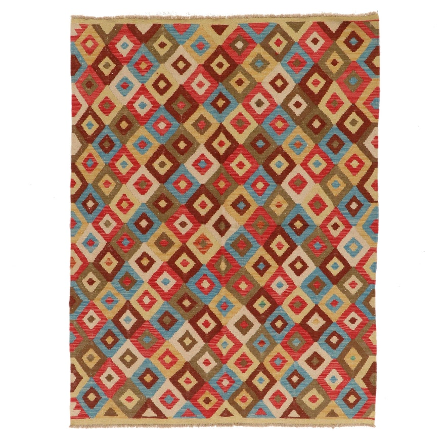 4'10 x 6'7 Handwoven Afghan Kilim Wool Area Rug