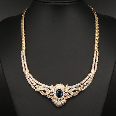 4.15 CT Unheated Sapphire and 14.74 CTW Diamond Necklace with GIA Online Report
