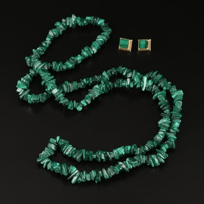 14K Malachite Stud Earrings Beaded Necklace