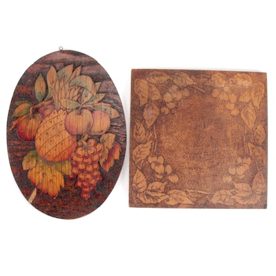 Fruit Motif Hand-Carved Pyrography Hanging Décor