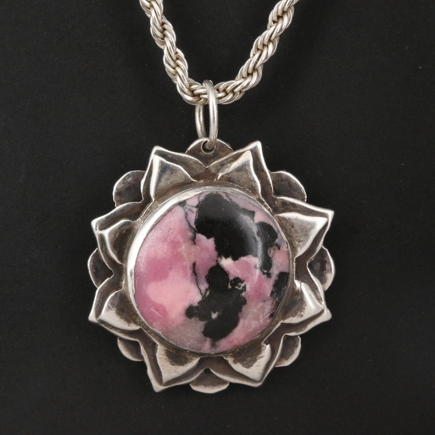 Sterling Rhodonite Pendant Necklace