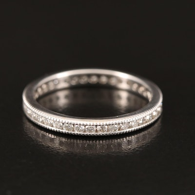 18K Diamond Eternity Band with Milgrain Detail