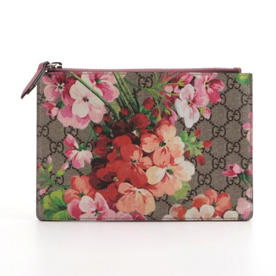 Gucci GG Blooms Supreme Pouch in Coated Canvas and Leather