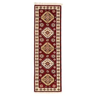 2'1 x 6'11 Hand-Knotted Indo-Caucasian Kazak Carpet Runner, 2010s
