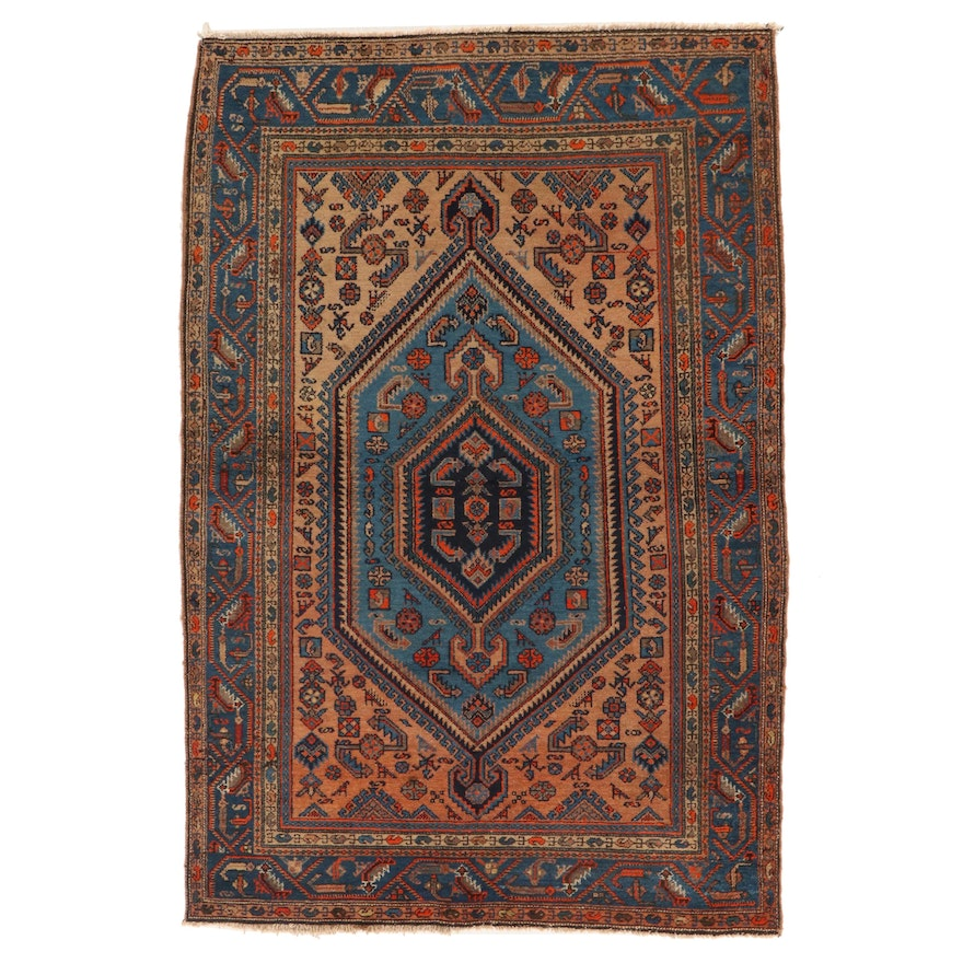 4'5 x 7' Hand-Knotted Persian Hamadan Village Area Rug