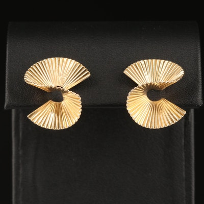 Retro 14K Fanned Swirl Clip Earrings