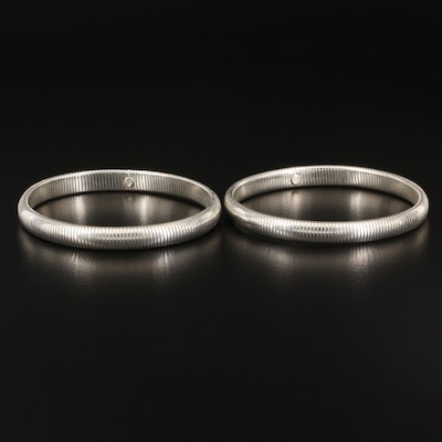 Sterling Silver Expandable Omega Bangle Bracelets