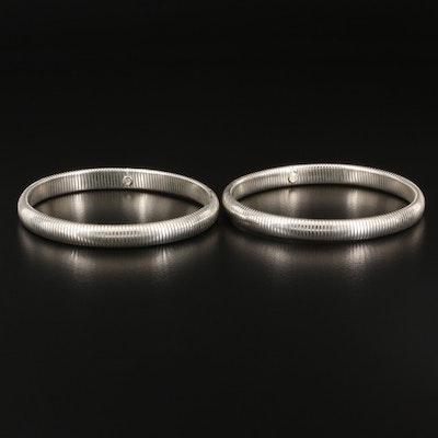 Sterling Silver Expandable Omega Bangle Bracelets