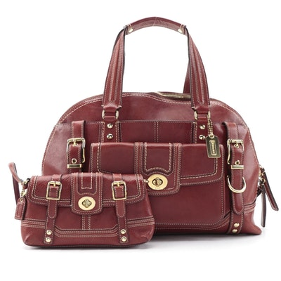 Coach Miranda Domed Satchel and Coordinating Wristlet in Mahogany Leather
