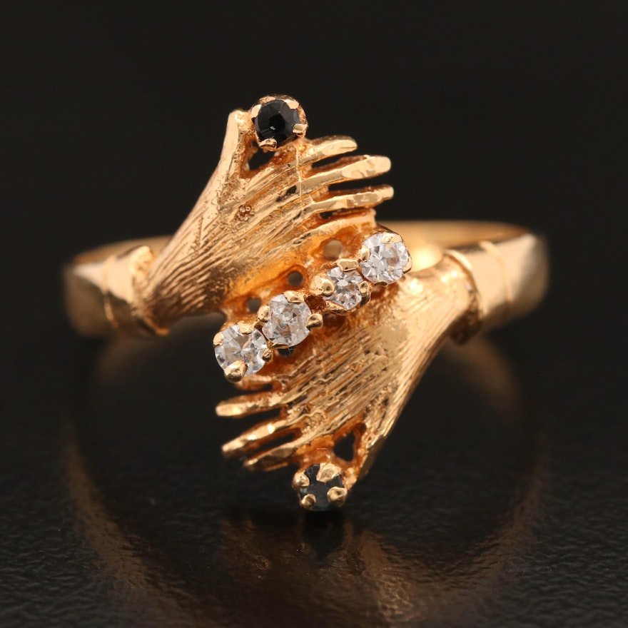 18K Double Hand Bypass Ring with Cubic Zirconia and Sapphire