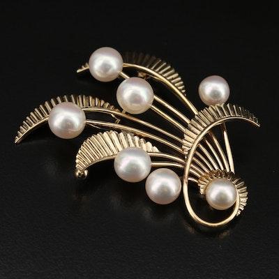 Retro Mikimoto 14K Pearl Foliate Brooch