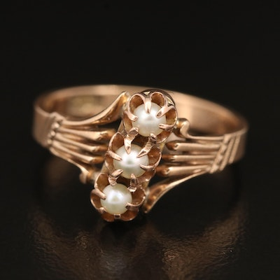 Victorian 14K Buttercup Set Pearl Ring