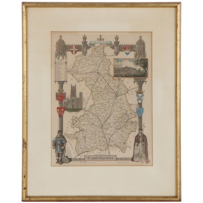 Hand-Colored Etching Map of Cambridgeshire, 20th Century