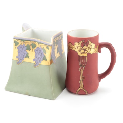 Continental Hobbyist Bernardaud Hand-Painted Porcelain Pitcher with Other