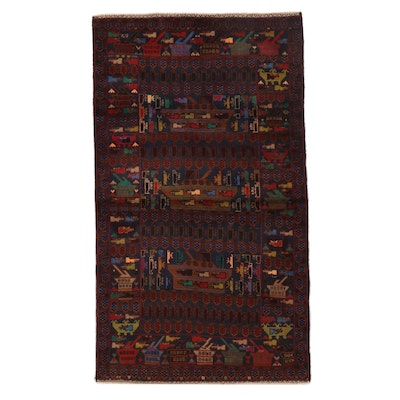 3'10 x 7'3 Hand-Knotted Afghan Baluch War Rug Wool Area Rug