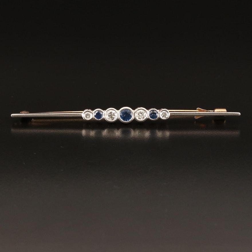 1910 14K and Platinum Sapphire and Diamond Bezel Bar Brooch