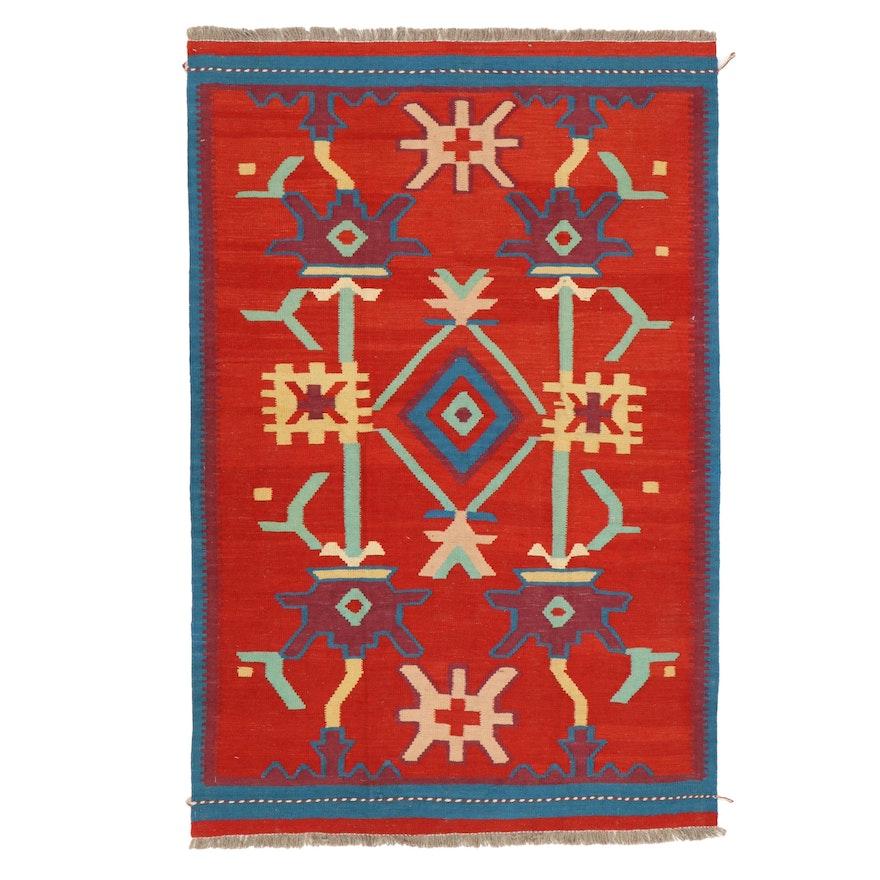 4'1 x 6'2 Handwoven Afghan Kilim Wool Area Rug