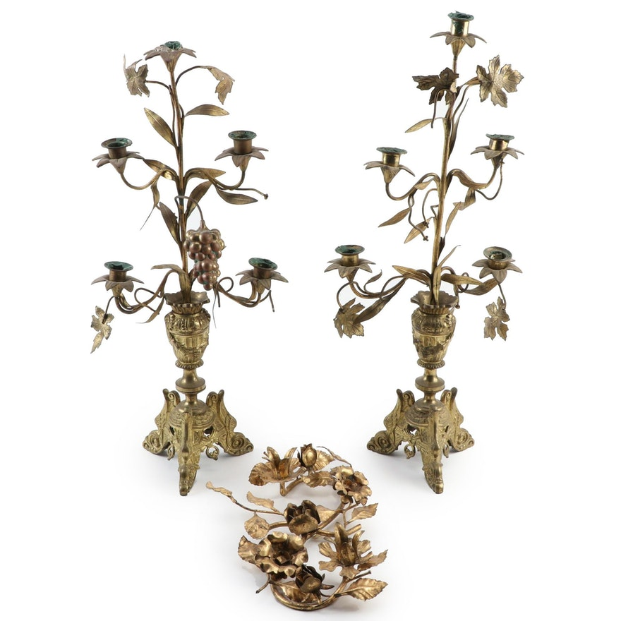 French Gilt Bronze Floral Candelabras and Italian Floral Candle Holder