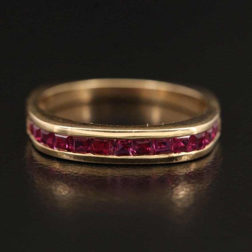 14K Ruby Chanel Band with Euro Shank